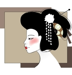 Portrait of geisha vector