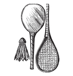 Rackets shuttlecock vintage engraving vector image
