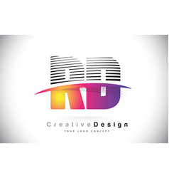 Rd r d letter logo design with creative lines and vector