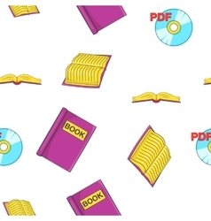 Reading books pattern cartoon style vector