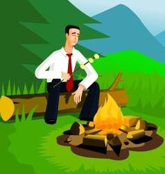 Relaxing businessman near campfire vector