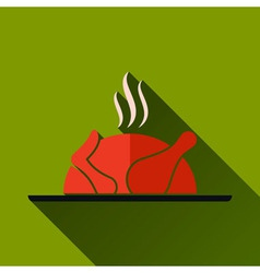 Roasted Chicken Long Shadow Icon vector