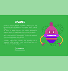 Rounded robot with two limbs and face promo poster vector