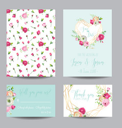 Save the date card set with blossom pink flowers vector