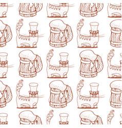Seamless pattern with cat and a mug of foamy beer vector