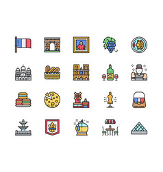 set french culture flat color line icons vector image