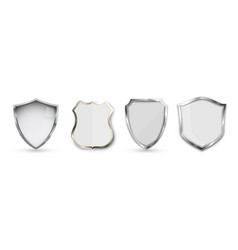 Set metal shield isolated on white background vector