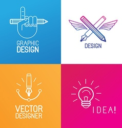 set of logo design elements vector image