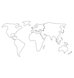 Simplified world map divided to continents Simple vector image