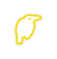Sticker bright silhouette of a raven on white vector