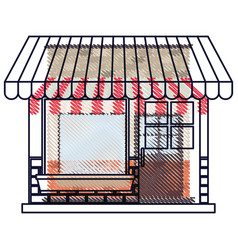 Store facade with sunshade in colored crayon vector