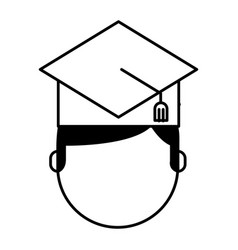 student with hat graduation avatar vector image