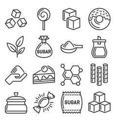 sugar icons set on white background vector image