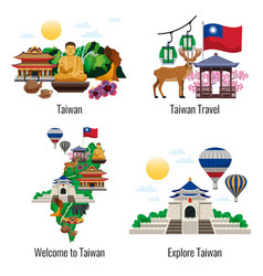 taiwan travel compositions vector image