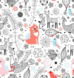 Texture funny cats and fabulous animals vector
