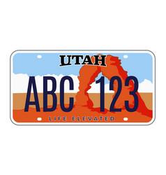 Utah license number plate usa car plate vector