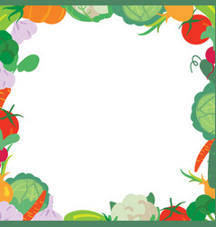 Vegetables frame on a white background vector