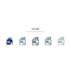 Village icon in different style two colored vector