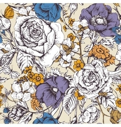 Vintage floral seamless pattern with roses vector