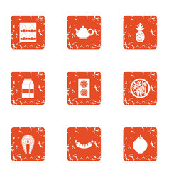 Vital activity icons set grunge style vector