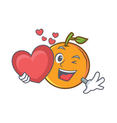 with heart orange fruit cartoon character vector image