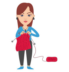 woman knitting on white background vector image