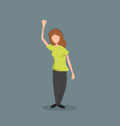 Woman with raised hand isolated girls image vector