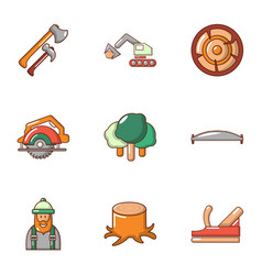 woodcutter icons set cartoon style vector image
