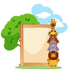 wooden frame with cute animals on the side vector image