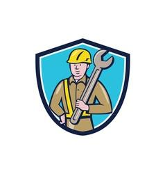 Construction Worker Spanner Shield Cartoon vector image vector image