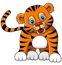 Cute young tiger cartoon expression vector