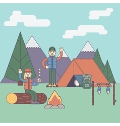 Friends next to camping fire vector image vector image