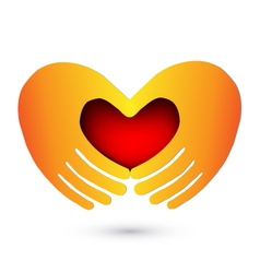 Hands and heart logo vector image vector image