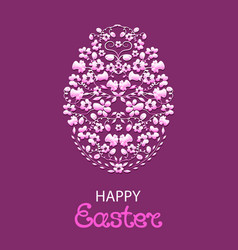 happy easter paschal egg from flowers and herbs vector image vector image