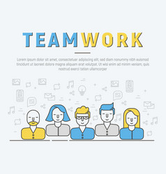 infographic of team work in thin line style vector image vector image