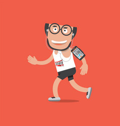 running man with earphones and smartphone vector image