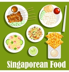 Singaporean national cuisine flat icon vector image vector image