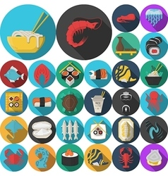 Asian menu flat round icons collection vector image