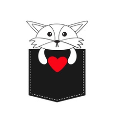 Fox in the pocket holding red heart Cute cartoon vector image vector image