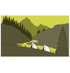 mountain camp vector image vector image