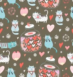 Texture funny love cats vector