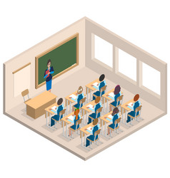 classroom woman teacher and children isometric vector image vector image