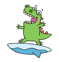 cute dragon surfer on surfboard caught a wave vector image vector image
