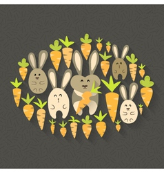 Eastern rabbits and carrots set icons vector image