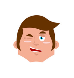 guy winking emoji boy happy emotion isolated vector image vector image