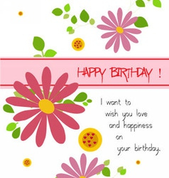 happy birthday with flowers vector image vector image