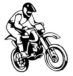 A silhouette of a motorcycle racer commits high vector