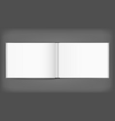 Blank of open album with cover on grey background vector