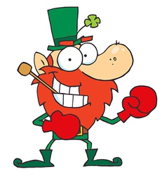 Boxing Leprechaun With A Pipe In His Mouth vector image vector image