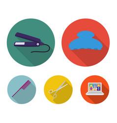 brush straightener scissors comb hairdresser vector image vector image